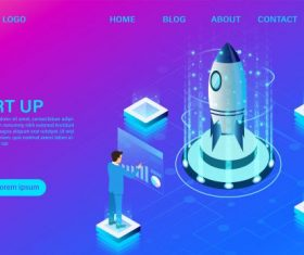 Banner with business start up concept digital marketing business success goal isometric illustration cartoon vector