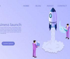 Businessman start to launch a space rocket business start up concept flat 3d isometric vector design