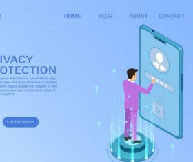 Banner protect data and confidentiality on mobile privacy protection and security are confidentiality flat isometric illustration vector