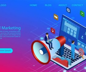 Digital marketing concept for banner and website business analysis content strategy and management digital media campaign flat illustration with vector