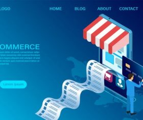 Ecommerce shopping with 3d isometric template vector set