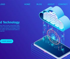 Modern cloud technology vector