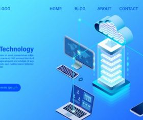 Modern cloud technology illustration vector