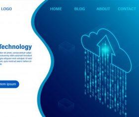 Cloud computing technology isometric flat vector