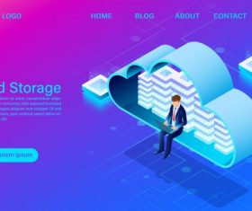 Cloud storage technology illustration vector design