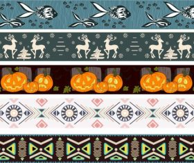 Border templates tribe animal halloween themes repeating vector