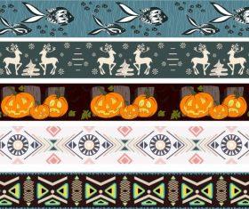 Border templates tribe animal halloween themes repeating vector