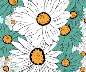 Flowers background colored handdrawn closeup vector