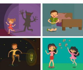 Childhood backgrounds kids emotions cartoon vector set