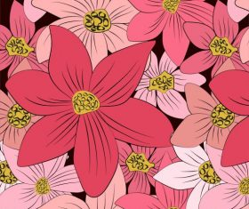 Botany background colored flat handdrawn set vector
