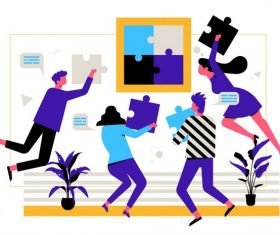 Team work background dynamic staffs jigsaw puzzles set vector