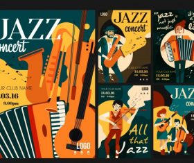 Jazz festive posters colorful classical instrument performers design vectors