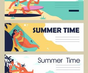Summer time banners relaxing people colorful vector design