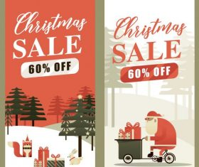 Xmas sale banners flat vertical shiny vector