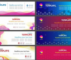 Corporate banner templates colorful contemporary flat 3d vector design