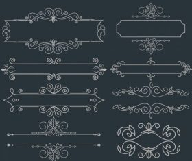 Document decorative elements symmetric european design vectors