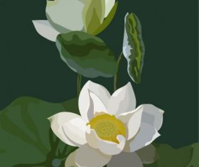 Blooming lotus painting dark colored retro vector