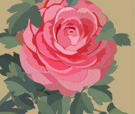 Rose flower painting colored retro vector