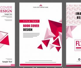 Corporate brochure templates pink modern 3d geometric vector