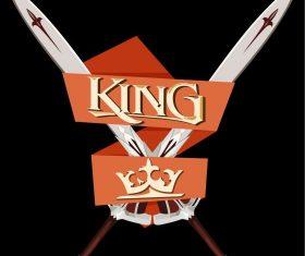 Winner prize heraldic sword crown ribbon vector