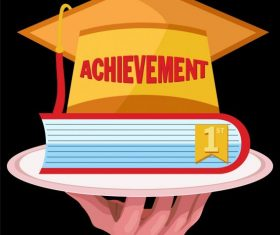 Graduation achievement 3d hat book hand vector design