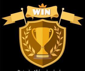 Award logotype symmetric golden shield ribbon trophy vector material