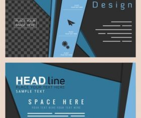 Business brochure templates modern dark colored vector