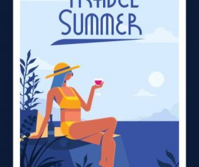 Summer travel banner relaxing bikini girl vector