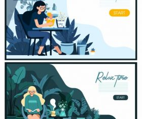 Relax time banners resting lady cartoon vector