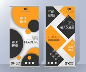 Corporate poster templates modern geometric standee shape shiny vector
