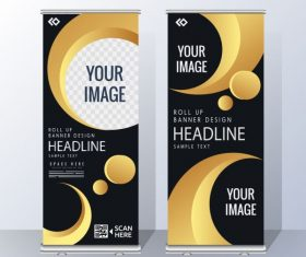 Corporate banner templates modern yellow black vector