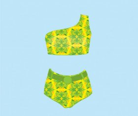 Women bikini one shoulder swimsuit ladies swimwear vector graphics