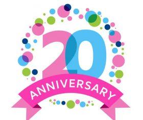 20th anniversarry celebrations shiny vector