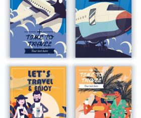 Travel banners airplane tourists colorful vector