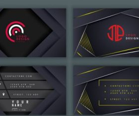 Business card templates black technology vector