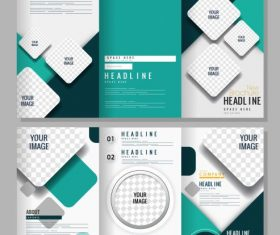 Trifold brochure templates modern bright checkered vector graphics