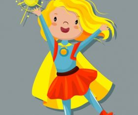 Superwoman magic kid cartoon character vector