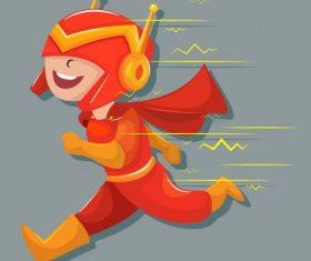 Superhero kid running gesture funny cartoon vector
