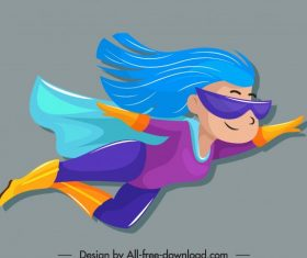 Superwoman cute cartoon character flying vector