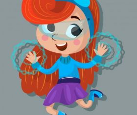 Hero girl cute magic cartoon character vector set