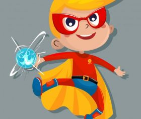 Kid hero cute cartoon vector