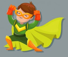 Kid hero cute cartoon character vector