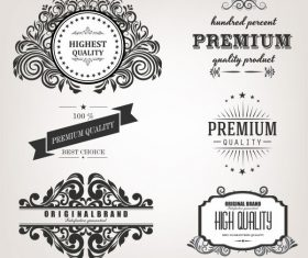 Quality identity label templates retro calligraphic vector design