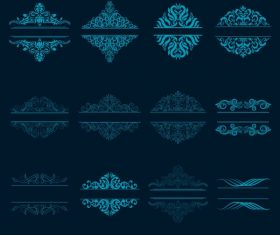 Document decorative elements blue classical symmetric seamless curves design vector