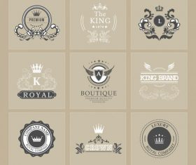 Brand logotypes retro royal theme calligraphic vectors