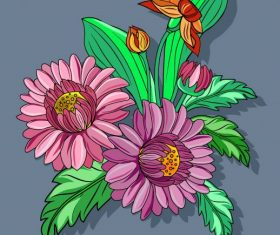 Flora painting colorful classical vector design