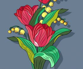 Blooming orchid painting colorful classical vector graphics