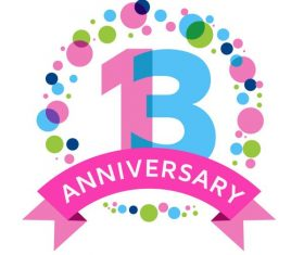 13 th anniversarry celebrations vectors material