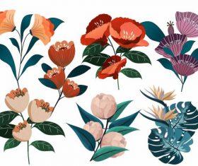Petals icons colorful classical vector