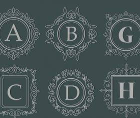 Alphabet border templates european retro seamless vectors material